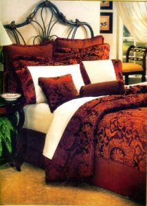 Amazon.com: 8 Pc Luxury Super Set, Mystic Wine Burgundy Red / Gold Woven Jacquard Comforter Set / Bed in Bag - Queen Size Bedding + 600 Thread Count Cotton Sheet Set: Home & Kitchen
