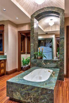 Rustic Master Bathroom With Green Marble Bathtub Surround Green Marble Bathroom, Marble Bathtub, Rustic Master Bathroom, Small Bathroom, Bathroom Ideas, Bathroom Vanities, Bathroom Remodeling, Bathroom Interior, Bathrooms