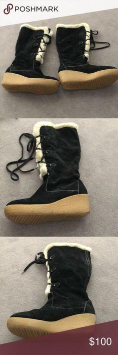 94035c28a15 Michael Kors Black Shearling Wedge Boots Michael Kors Black Suede Lace Up  Shearling Winter Boots.