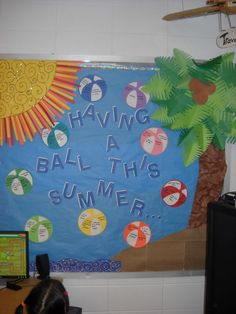 Beach theme bulletin board summer door decorations preschool summer bulletin boards beach theme by beach themed . Daycare Bulletin Boards, Summer Bulletin Boards, Birthday Bulletin Boards, Classroom Bulletin Boards, Birthday Board, Summer Bulliten Board Ideas, Classroom Crafts, Birthday Wishes, Preschool Door