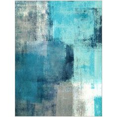 Selected Modern Teal and Gray Abstract Painting Art by Eazl - Walmart.com