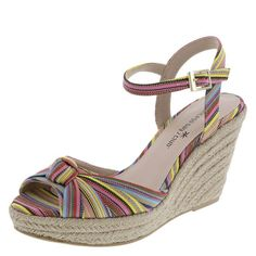 """The perfect warm weather sandal! It features a fabric upper with knot on the vamp, peep toe styling, ankle sling with adjustable strap, jersey lining, padded footbed, 3 1/2"""" jute-wrapped wedge with 1"""" platform, and a rubber outsole. Manmade materials."""