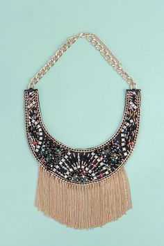 Elise Beaded Fringed Statement Necklace