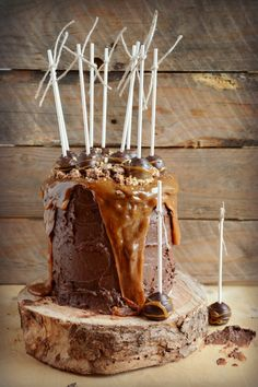 Chocolate Snickers Bourbon cake with salted caramel Tim Tam Pops. mamabearskitchen.com.au