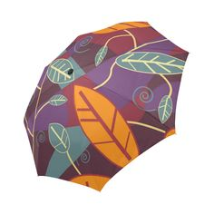 Orange Teal Leaves Colorful Floral Pattern Auto-Foldable Umbrella