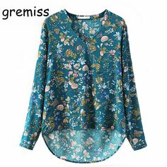 998b6a006db6 Gremiss Women Elegant Vintage Long Sleeve V-neck Floral Blouses Pullover  Cotton OL Shirts Casual Loose Blouse Tops