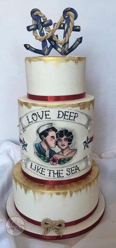 Painted nautical wedding - Cake by Kelly Hallett