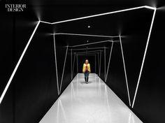 LEDs crisscross a corridor at Sony's harmonious New York headquarters by Studios Architecture. Interior Design Magazine, Office Interior Design, Best Interior, Design Offices, Modern Offices, Luxury Interior, Interior Decorating, Decorating Ideas, Corridor Lighting