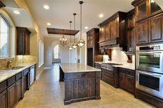 dark kitchen cabinets with light granite option