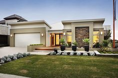 Single Story Home Plans, Floor Plans, Home Design. See more about small house plans, contemporary home plans and modern house plans. Flat Roof House, House Roof, House Exterior, Modern House Exterior, Mediterranean Homes, Single Storey House Plans, Facade Design, House Designs Exterior, Contemporary House Plans