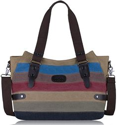 Coofit Canvas Handbags Striped Tote Bag Top Handle Shoulder Bag Hobo Cross  Body Bag for Women. Sacs pour femme 69b57ca43103