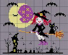 DMC Witch Halloween Cross Stitch Designs, Cross Stitch Patterns, Free Cross Stitch Charts, Halloween Cross Stitches, Dmc, Cross Stitching, Needlepoint, Witch, Perler Beads