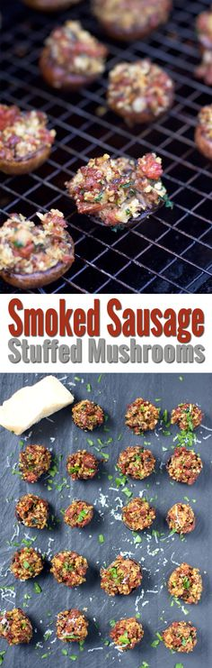 An easy and elegant recipe for smoked sausage stuffed mushrooms. Start by smoking your sausage, then add it to a savory filling for your stuffed mushrooms. Great for parties or bbq season! Bbq Appetizers, Easy Appetizer Recipes, Lamb Recipes, Wine Recipes, Grilling Recipes, Cooking Recipes, Smoker Recipes, Spring Recipes, Holiday Recipes