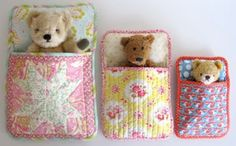 Watch your fabric store for fat quarters or end bolts to sew up these cute teddy bear beds.  Your little one just may go to bed a little easier after her or she puts teddy bears to bed!