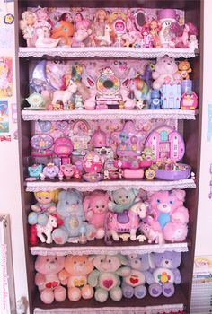 My retro/magical toy shelves as of summer 2013! <3A big BIG thank you to my friends for some of the additions here! ;o;