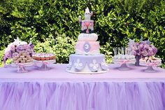 Custom Tutu Table Skirt, Candy Buffet Skirt, Centerpiece, Head Table Skirt from Bailey Had A Party Sofia The First Birthday Party, Sofia Party, Dessert Party, Dessert Table, Cake Table, Dessert Stand, Birthday Table, Birthday Party Themes, Pink Birthday