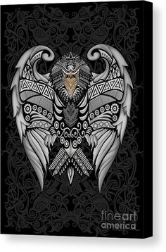 Aztec Mayan Eagle Pattern Canvas Print Available for @pointsalestore #aztec #pattern #vintage #blackwhite #ravenclaw #hawk #eagle #animal #bird #tattoo #mayan #indian #native