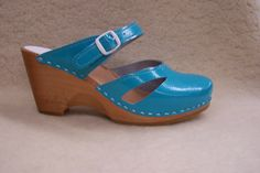 Wedge - Turquoise Patent - By Sven  www.svensclogs.com