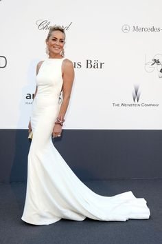 Sharon Stone attends the Annual Cannes Film Festival amfAR Cinema Against AIDS Gala at the Hotel du Cap-Eden-Roc, Antibes, France - May 2013 - Photo: Runway Manhattan/Alberto Terenghi Sharon Stone, Emma Stone, Oscar Dresses, Evening Dresses, Robes D'oscar, Beautiful Dresses, Nice Dresses, Designer Gowns, Red Carpet Looks