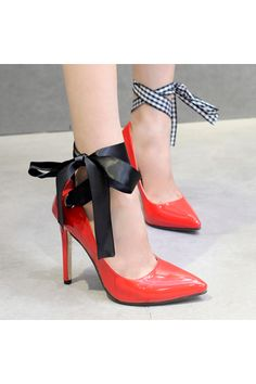 Women's Pointed Toe Stiletto Pumps Slim Party Shoes with Ribbons Red | ราคา: ฿780.00 | Brand: Crape Myrtle | See info: http://www.topsellershoes.com/product/4341/womens-pointed-toe-stiletto-pumps-slim-party-shoes-with-ribbons-red