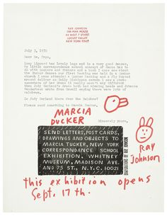 Ray Johnson (from a collection of artist-made illustrated letters: More Than Words) http://www.huffingtonpost.com/2015/03/13/more-than-words_n_6842354.html