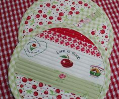 Pot Holders - cherries, gingham and quilting
