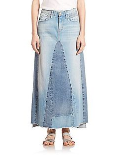 "Current/Elliott The Reconstructed Long Denim SkirtUneven raw-edge hem About 37"" long"