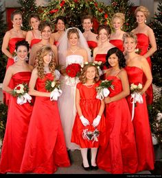 Long red bridesmaid dresses. Perfect for a winter wedding!