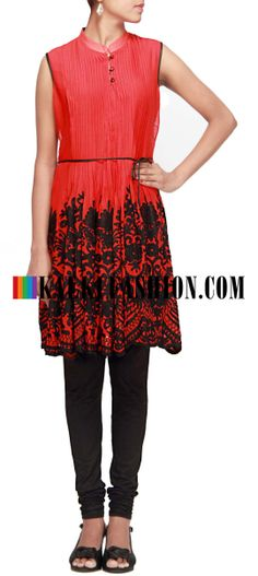 Buy Online from the link below. We ship worldwide (Free Shipping over US$100)  http://www.kalkifashion.com/red-kurti-embellished-in-thread-work.html Red kurti embellished in thread work