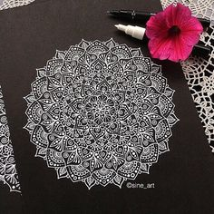Mandala, white ink on black drawing | WEBSTA - Instagram Analytics