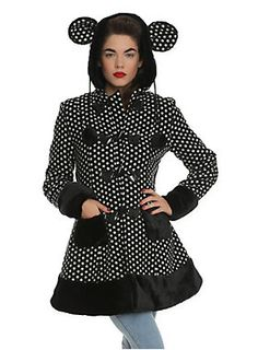 """""""Mika"""" coat from Hell Bunny with an allover polka dot pattern, cozy quilted lining, an over-sized hood with pom drawstrings and detachable furry bear ears, black faux fur trim and a vinyl heart accented front button closure.<ul><li> Shell: 95% polyester; 5% wool</li><li>Lining: 100% polyester</li><li>Wash cold; hang dry</li><li>Imported</li></ul>"""
