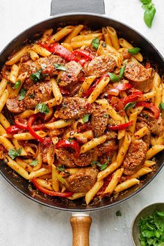 Sausage Pasta Skillet — A quick and easy skillet meal with incredible flavor, perfect for weeknight dinners with family. Sausage Pasta Skillet — A quick and easy skillet meal with incredible flavor, perfect for weeknight dinners with family. Pasta Dinner Recipes, Easy Pasta Recipes, Healthy Recipes, Sausage Dinner Recipes, Sausage Meals, Kielbasa Pasta Recipes, Heathly Dinner Recipes, Spicy Recipes, Crockpot Recipes