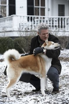 Richard Gere with an Akita from the movie Hachi, A Dog's Story