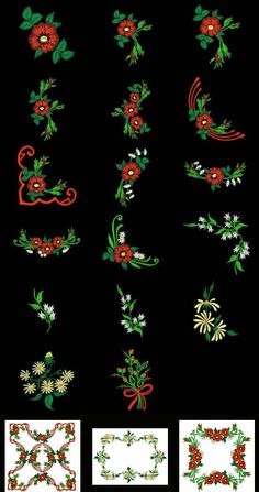 """""""Fabulous Flowers Set 1 Small"""" +FREE Sample! Comes with 16 very pretty floral and foliage designs you can mix and match to create numerous design combinations on linens, garments, home decor and more!"""