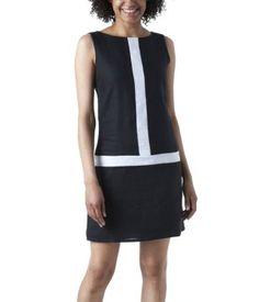 Robe bicolore en lin imprimé noir
