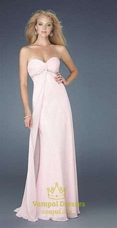 Lucy, Prom3 Picture of Classic Beading Empire Waist Light Pink Strapless Chiffon Prom Dresses