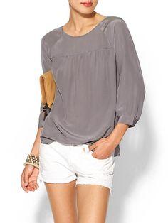 Tinley Road Lex Silk Shirred Popover Top