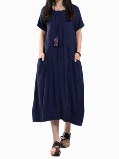 Literary women elastic waist pocket pleated short sleeve pure color dresses casual dresses short #5x #casual #dresses #maria #b #casual #dresses #maria #b #casual #dresses #2016 #types #of #casual #dresses