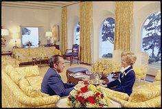 President Richard Nixon and Mrs. Nixon sitting in the living room of their San Clemente home., 01/13/1971