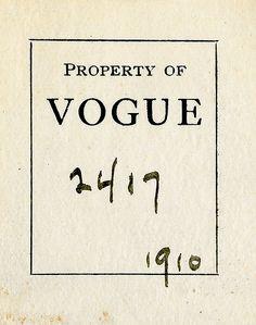 [Bookplate of Vogue] by Pratt Libraries, via Flickr