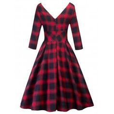 Retro Cut Out Plaid Fit and Flare Dress - CHECKED CHECKED