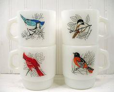 Vintage Fire King Milk Glass Bird Coffee Mug