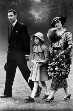 """The future Queen Elizabeth II, with her father King George VI, and the Queen Mother."""