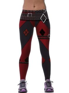 f87ae888f08bf Hot Women Cosplay Squad Harley Quinn Printed High Waist Sport Leggings  Sky539 Workout Leggings
