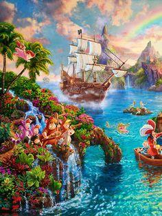 New Disney's Peter Pan painting by Thomas Kinkade Studios (Mickey and Company) Disney Paintings, Disney Artwork, Disney Drawings, Disney Posters, Disney Cartoons, Disney Movies, Disney Magic, Disney Dream, Thomas Kinkade Disney