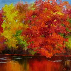 Red Tree, painting by artist Nel Jansen