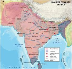 Maurya Empire is listed (or ranked) 1 on the list The Top 10 Greatest Empires of India Ancient Indian History, History Of India, World History, India World Map, India Map, India Poster, Geography Map, Map Pictures, India Facts