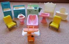 Made In Hong Kong Vintage Plastic Dolls House Furniture Including Unusual  Trouser Press.