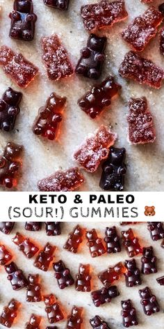 These homemade paleo and keto gummies are on point! Think wonderfully chewy and yummy goodies, at just net carbs per a 25 gummy bear serving! Low Carb Candy, Healthy Candy, Keto Candy, Low Carb Sweets, Low Carb Desserts, Dessert Recipes, Sour Gummies Recipe, Gummy Recipe, Gelatin Recipes