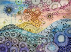 Anywhere Is by CAMartin. Watercolor, colorful, circles, ink, cellular, white space, pattern